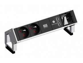 741 elektro zasuvka bachmann desk 2 2x 230v 2x usb nabijecka 1x uziv modul nerez 902 432