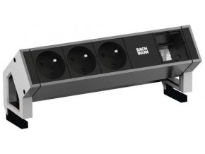 732 3 elektro zasuvka bachmann desk 2 3x 230v 1x uziv modul nerez 902 404