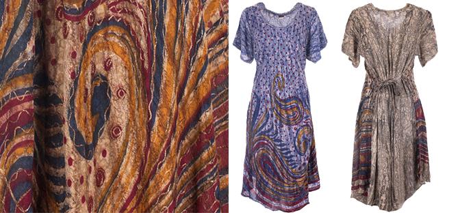 Elegantní dlouhé šaty s batikou