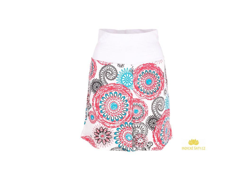 Krátká bavlněná sukně Mandaly bílá