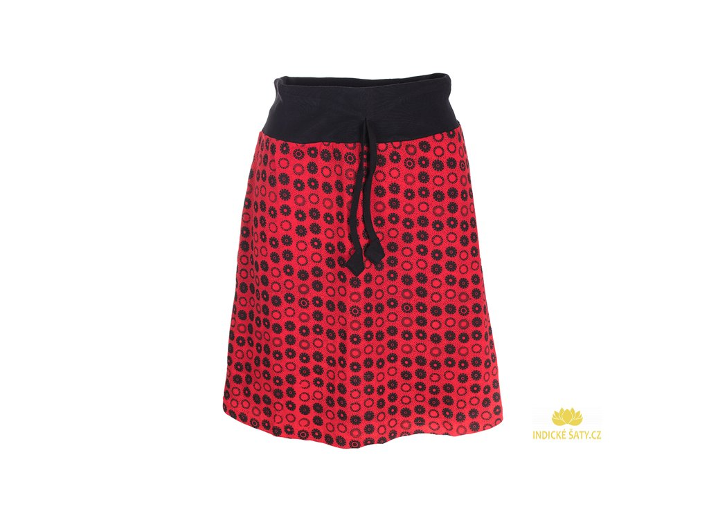 Krátká bavlněná sukně červená