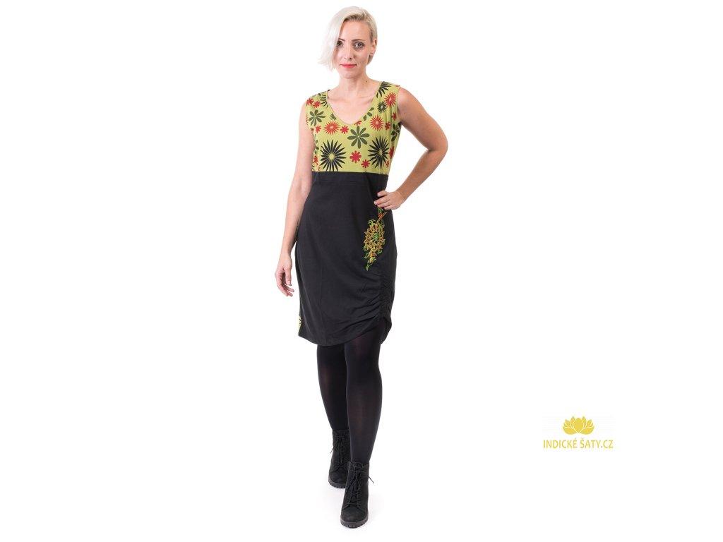 Bavlněná šatovka s květy černozelená