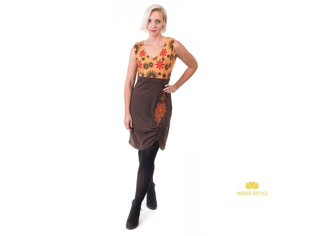 Bavlněná šatovka s květy oranžovohnědá