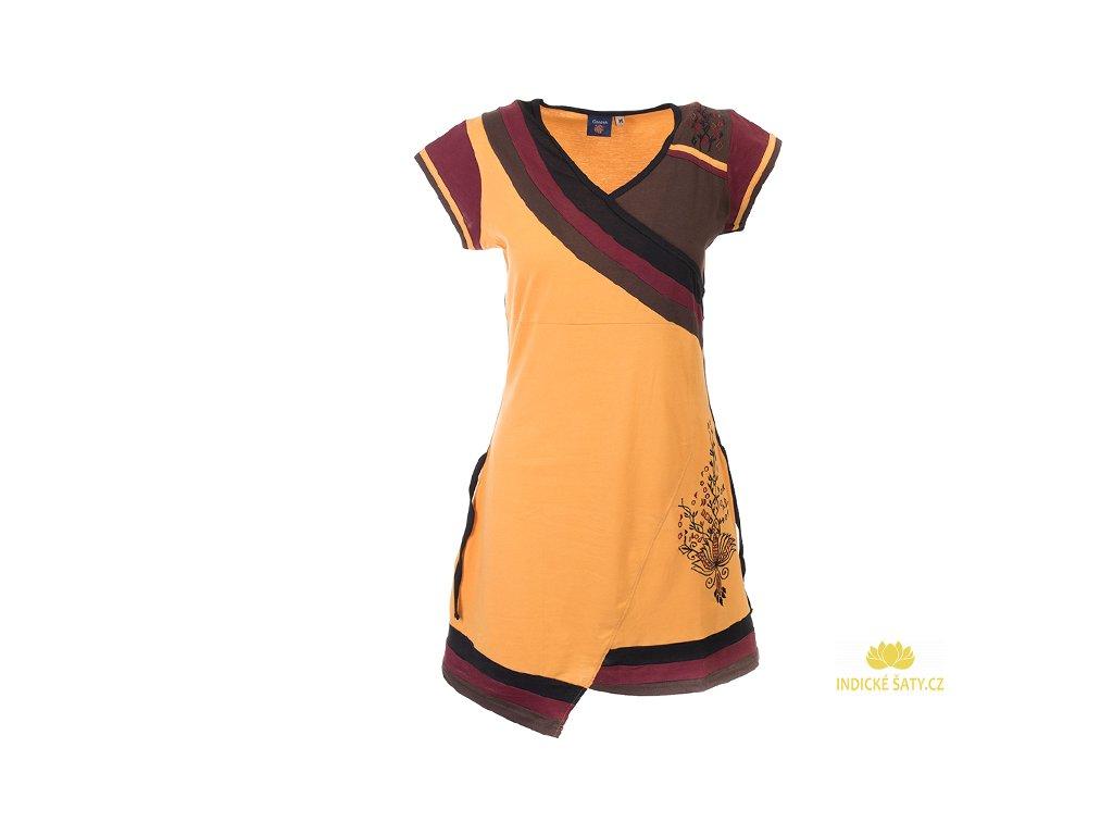 Krátké sportovní šaty s krátkým rukávem žluté