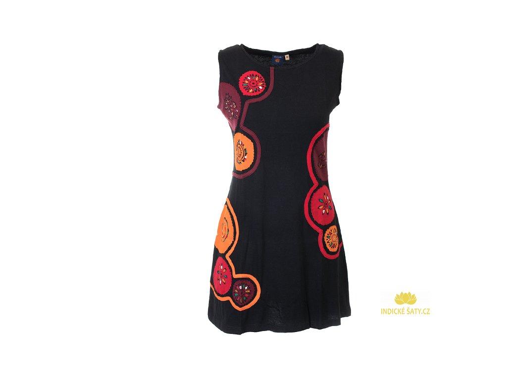 Krátké bavlněné šaty Mandaly černočervené