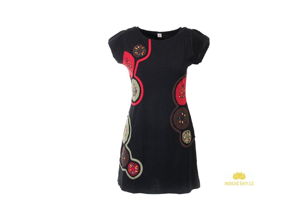 Krátké bavlněné šaty Mandaly černohnědé
