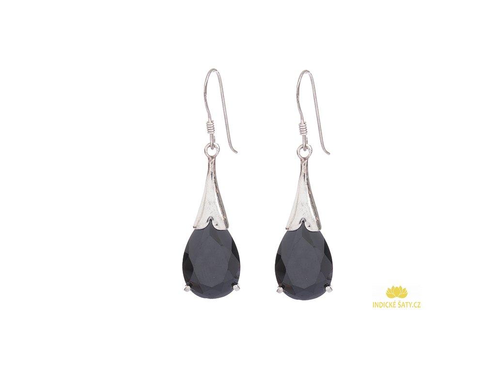 Elegantní stříbrné náušnice s černými broušenými kameny