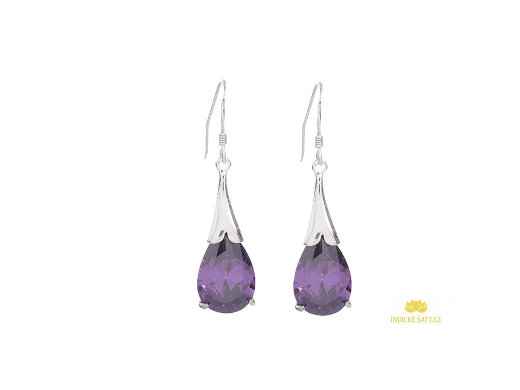 Elegantní stříbrné náušnice s fialovými broušenými kameny