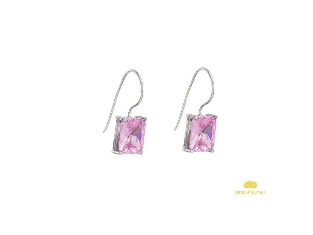Stříbrné náušnice s růžovými kameny z broušeného skla