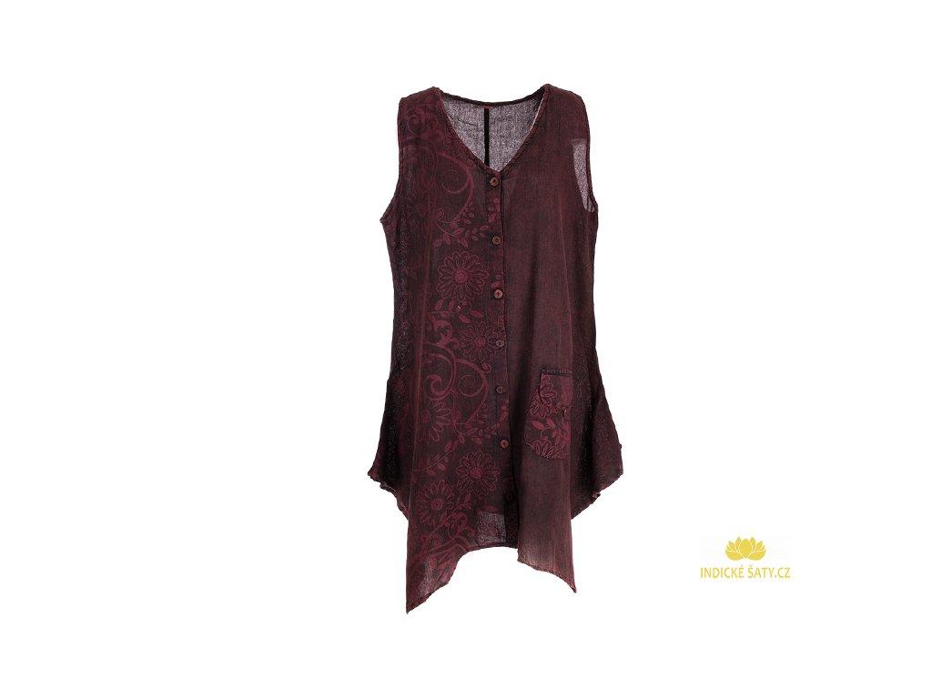 Propínací šaty z bavlny vínové