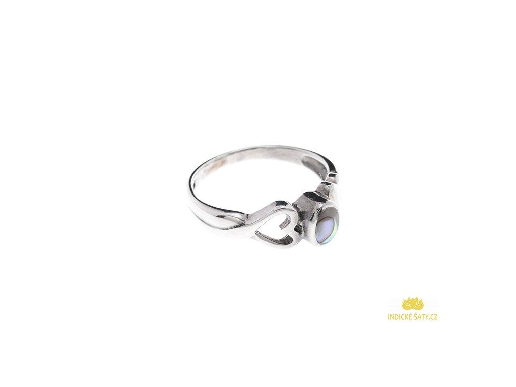 Stříbrný prsten s paua mušlí a srdíčkem