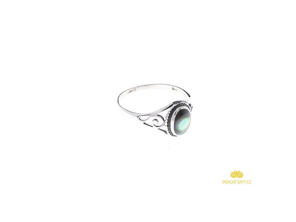 Stříbrný prsten s paua mušlí