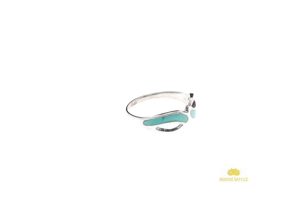Stříbrný prsten s tyrkenitem