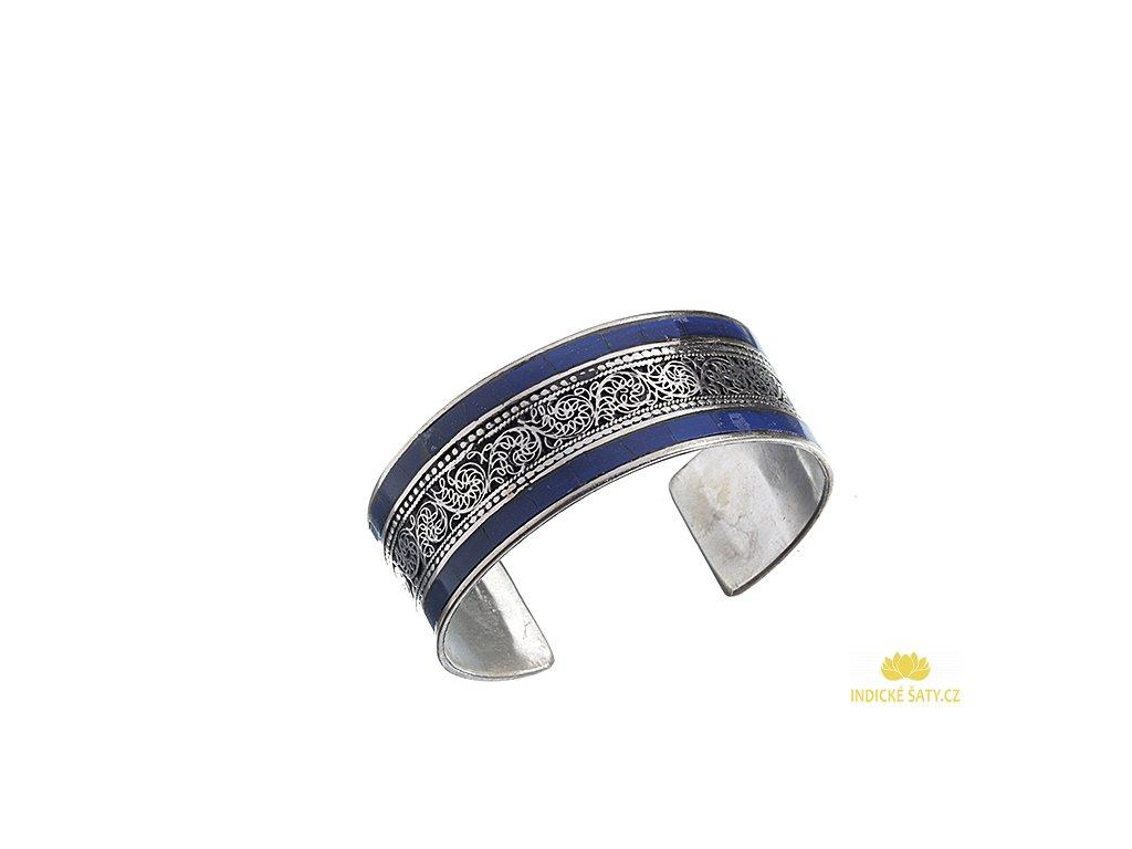 Tibetský náramek Ornament lapis lazuli, rytina draka