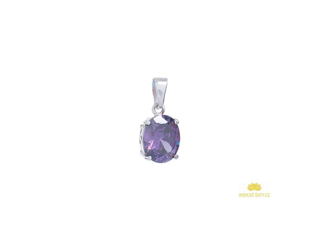 Stříbrný přívěšek s fialovým broušeným kamenem