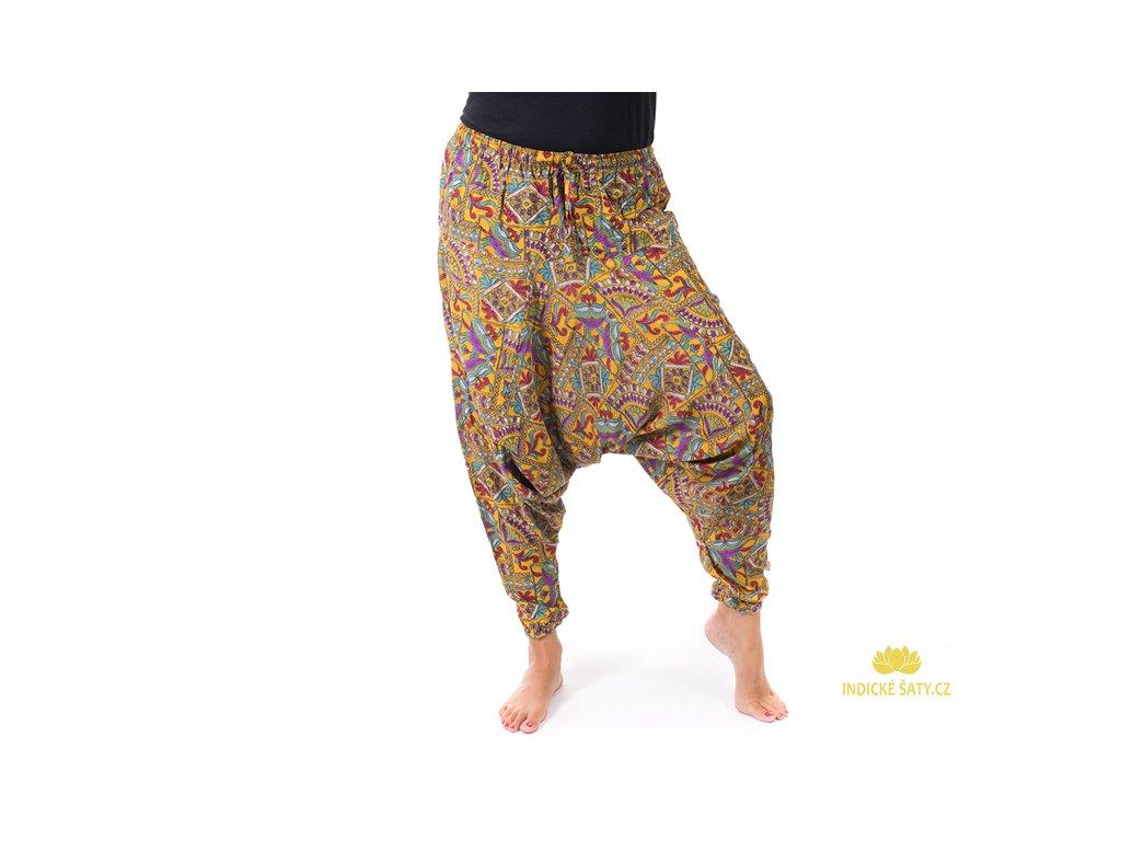 Harémové kalhoty orientální design žluté
