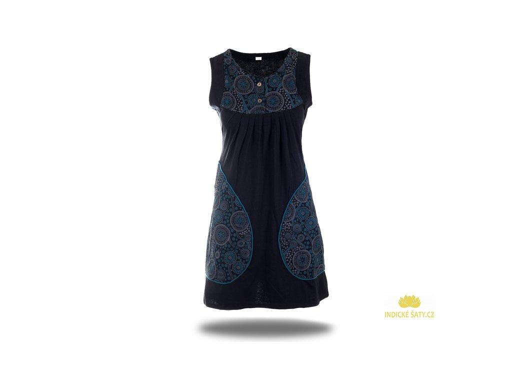 Krátké černé šaty s knoflíčky