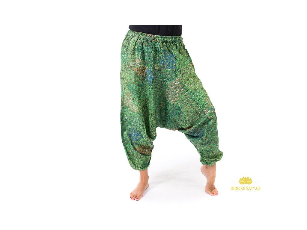 harémové kalhoty s orientálním vzorem zelené