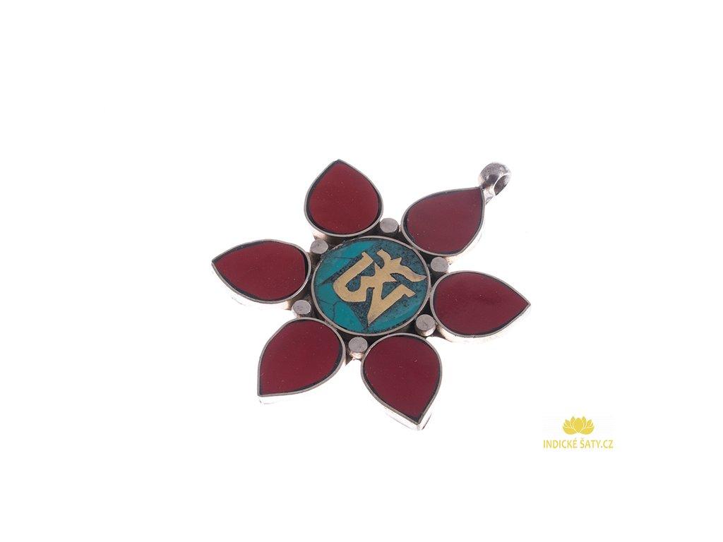 Ochranný tibetský amulet Óm v lotosu