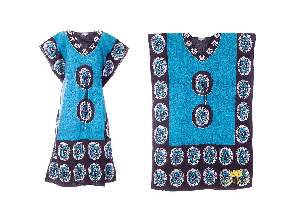 dlouhé modré kaftanové šaty
