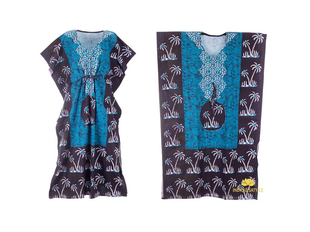 dlouhé modré kaftanové šaty s palmami
