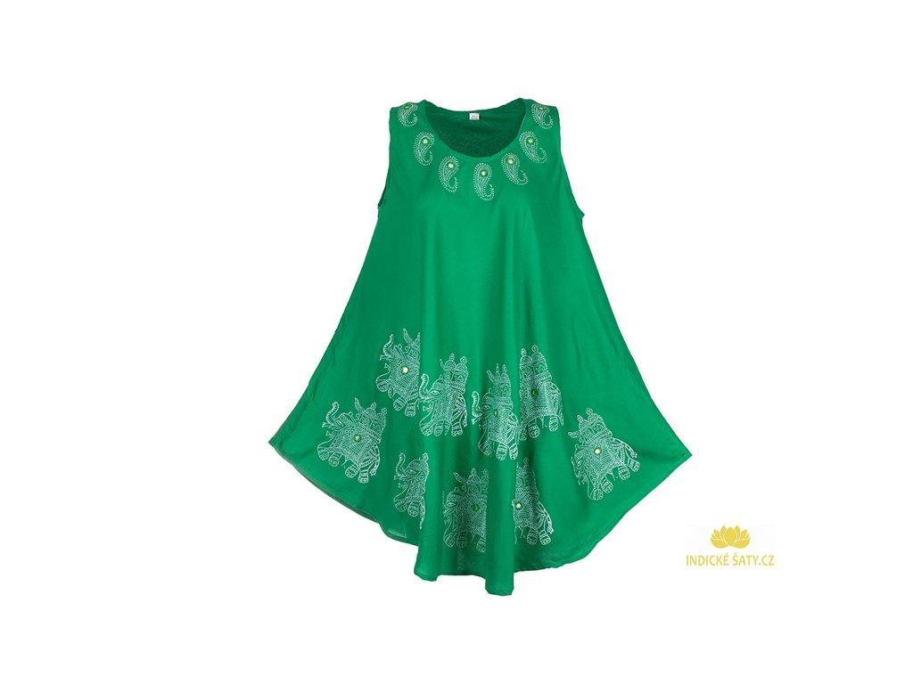 letní šaty se slony světle zelené
