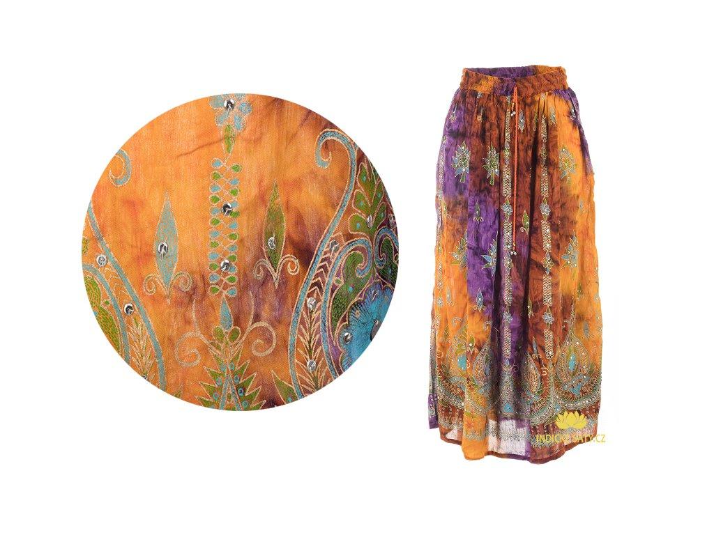 Dlouhá batikovaná indická sukně s flitry dohněda