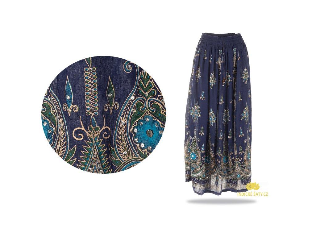 Dlouhá vyšívaná indická sukně s flitry tmavomodrá