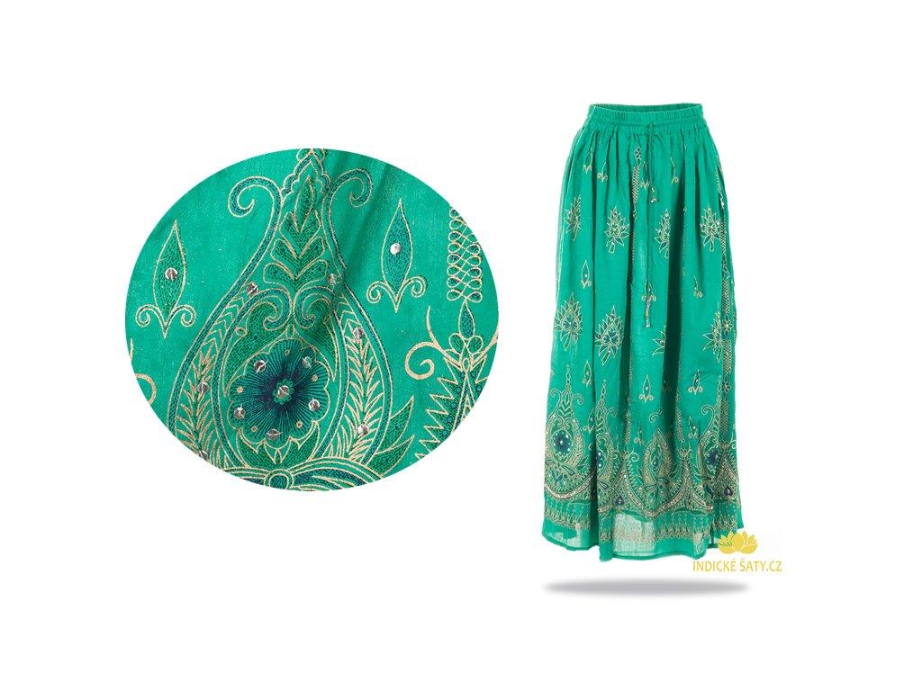 Dlouhá vyšívaná indická sukně s flitry zelená