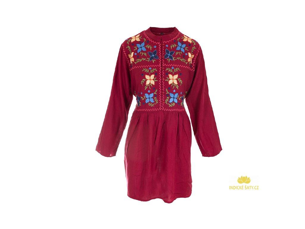 Vínové vyšívané šaty s dlouhým rukávem