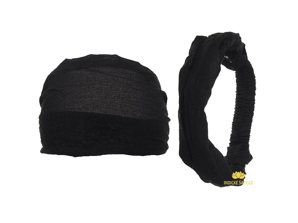 Látková čelenka do vlasů uhelně černá