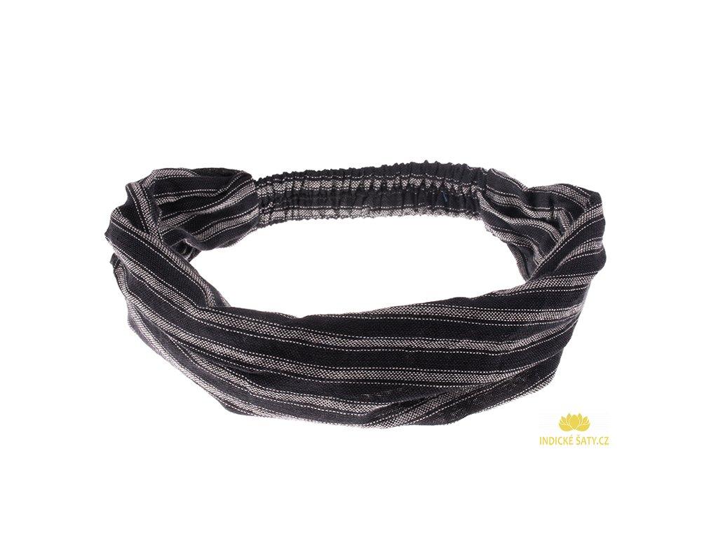 Šátek do vlasů pruhovaný elegantní černobílá