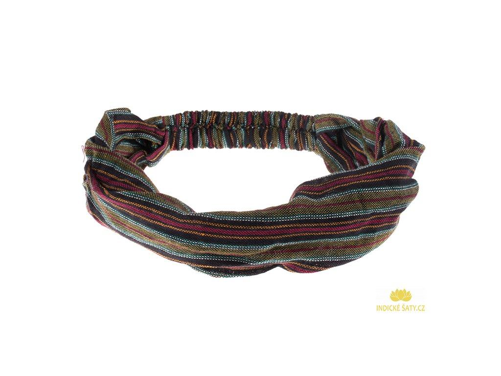 Šátek do vlasů pruhovaný červenozelený