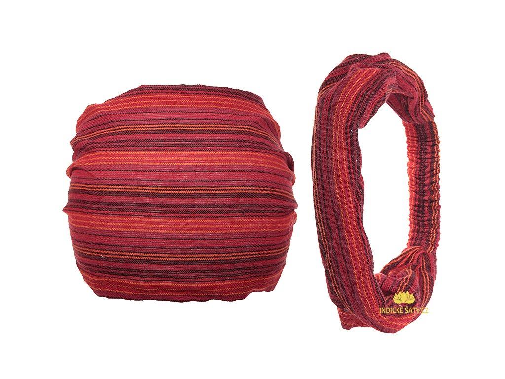 Šátek do vlasů pruhovaný energická červená