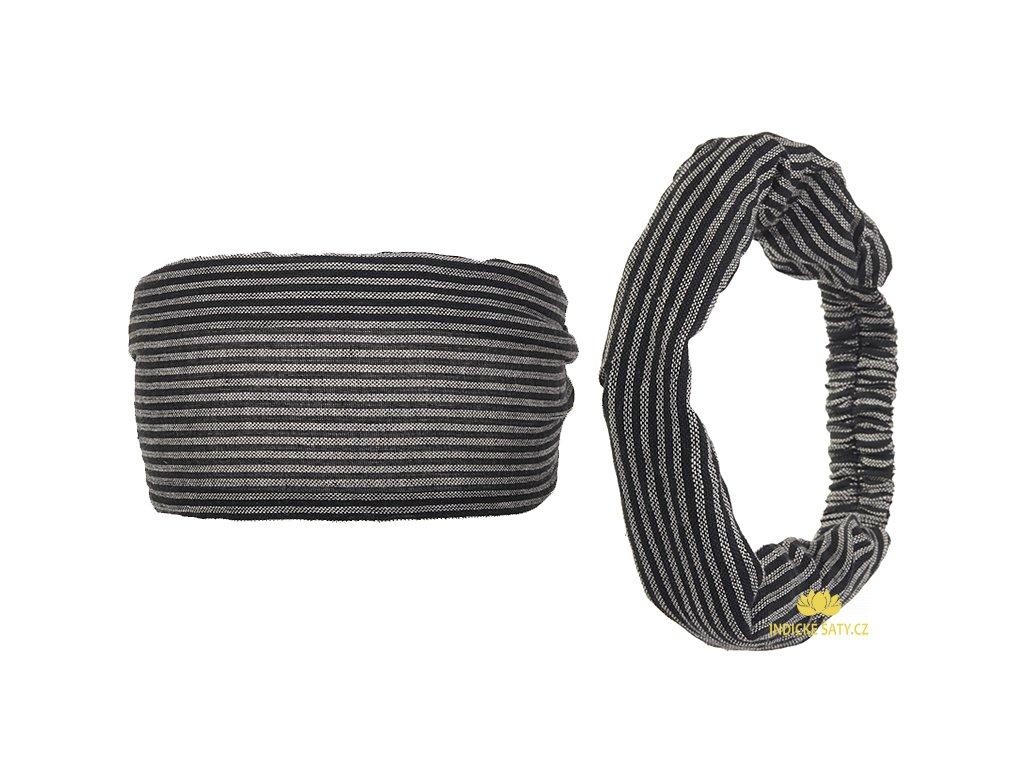 Šátek do vlasů pruhovaný retro černošedá