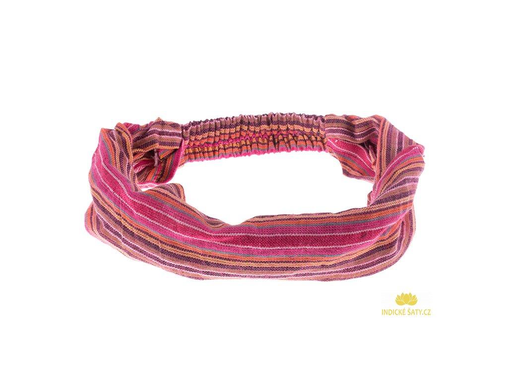 Šátek do vlasů pruhovaný sladká růžová