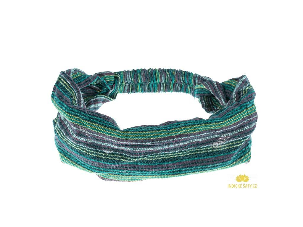 Šátek do vlasů pruhovaný smaragdově zelená