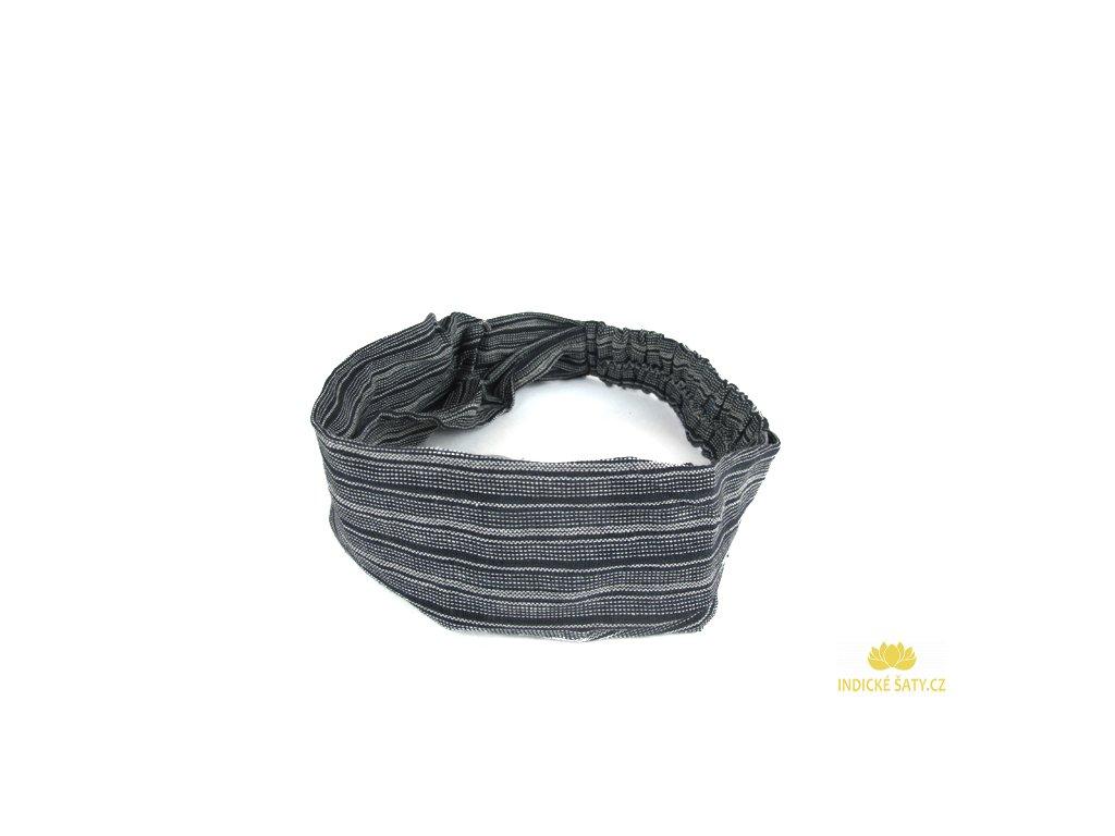 Šátek do vlasů pruhovaný hnědočerná
