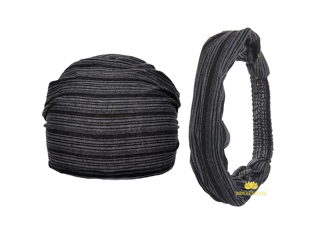Šátek do vlasů pruhovaný tajemně černošedá