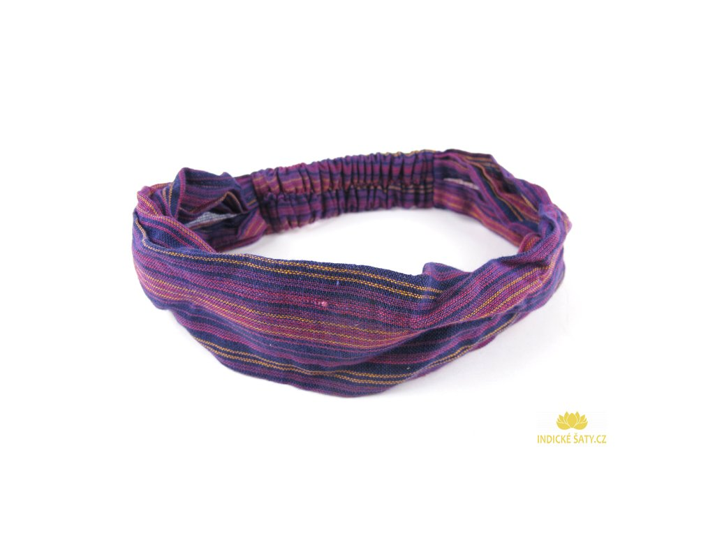 Šátek do vlasů pruhovaný fialovovínový