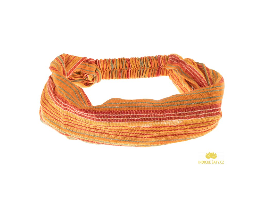 Šátek do vlasů pruhovaný veselá žlutooranžová