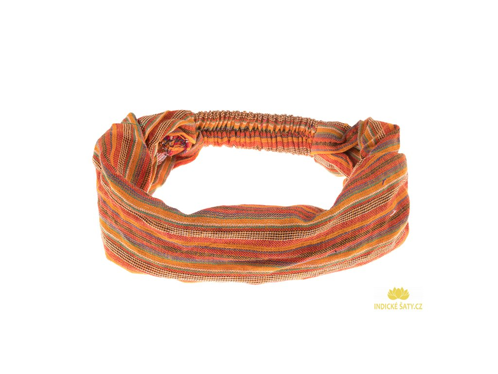 Šátek do vlasů pruhovaný decentní žlutooranžová