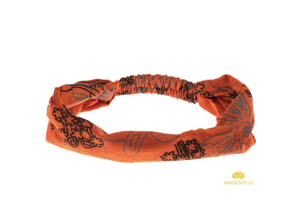Vzorovaná čelenka do vlasů ohnivě oranžová