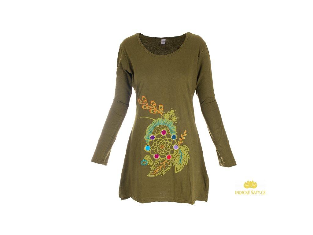 Bavlněné šaty s dlouhým rukávem zelené