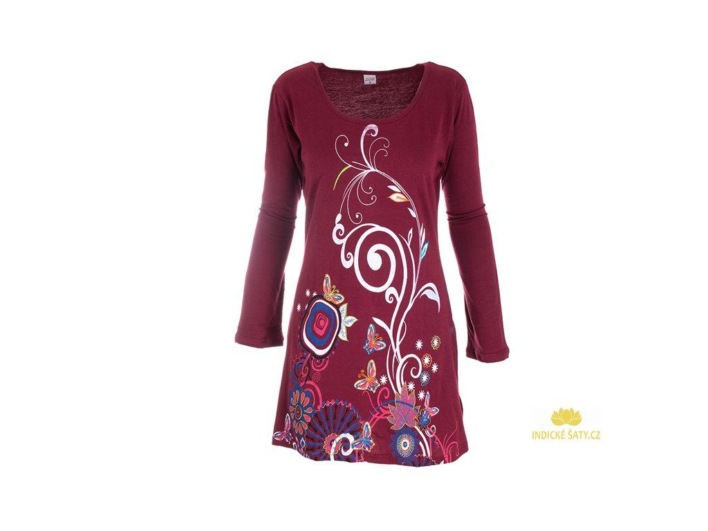 Bavlněné šaty s dlouhým rukávem vínové