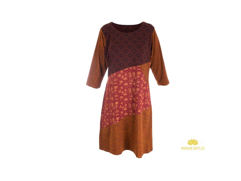 Originální šaty z organické bavlny rezavě hnědé