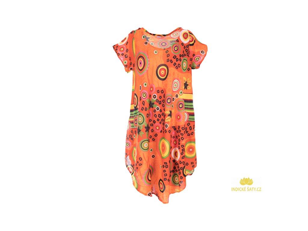 Letní šaty s rukávky oranžové