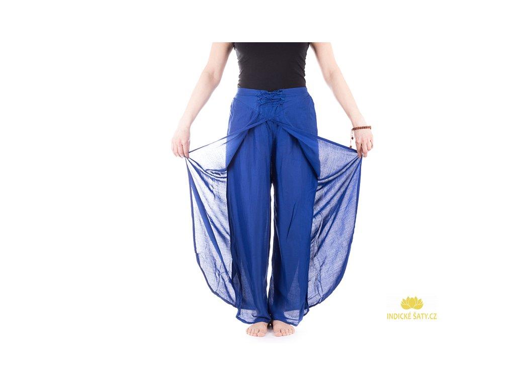zavinovací kalhoty z Indie modrá2
