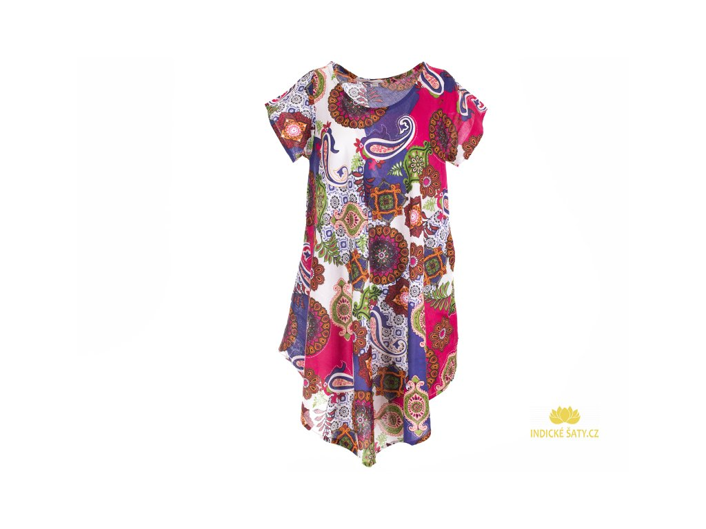 Letní šaty s rukávky bílofialové