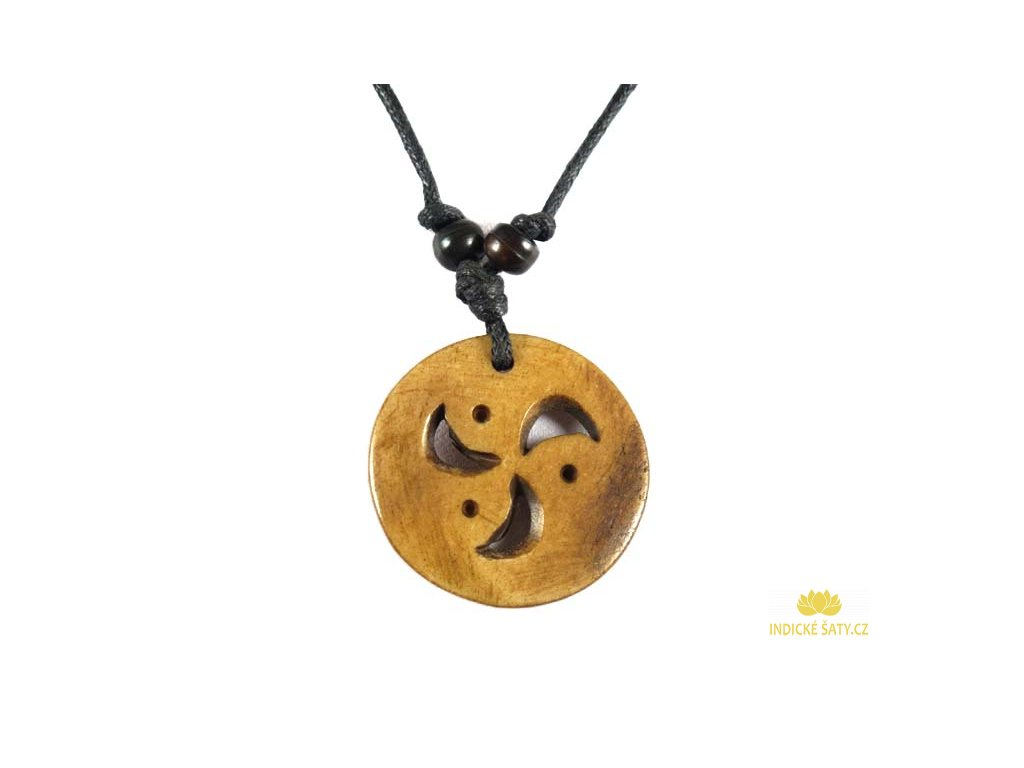 Kostěný přívěšek na stahovací bavlnce Triskel kruh